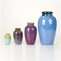 graduated baluster vases (4 works) by fulper pottery
