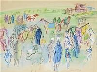 chevaux et turfistes à epsom by raoul dufy