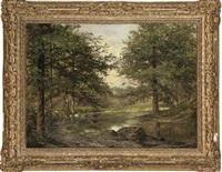 a woodland pool by samuel-marie cledat de lavignerie