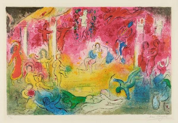 temple et histoire de bacchus pl xxxv from daphnis et chloé by marc chagall