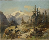 mountain landscape with chamois deer by anton paul heilmann