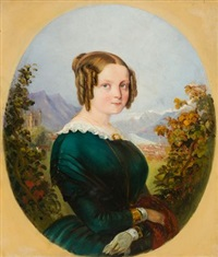 louise sophie rugendas, geboren dubois, vor dem landschaftspanorama ihrer schweizer heimat by johann moritz rugendas