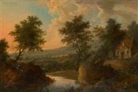 paysage de rivière animé de bergers et pêcheurs by herman van swanevelt
