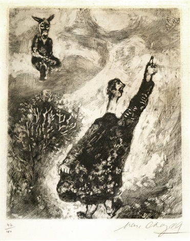 the charlatan pl 73 from the fables of la fontaine by marc chagall