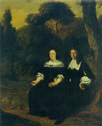 portrait of a gentleman and his wife, seated in a wood by herman mijnerts doncker