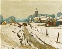 winterliches dorf by alfred rasenberger