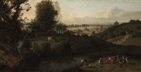 a wooded river landscape, with figures shooting and hunting, mountains beyond by jan siberechts