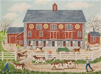 pennsylvania dutch barn with cows by albert webster davies