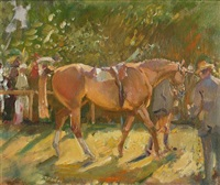 a racehorse in the parade ring by richard copeland weatherby