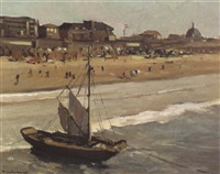 the beach at scheveningen by g. v. jeveren