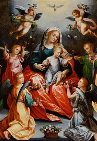 the virgin mary and the child flanked by st barbara and st catherine of alexandria both with their attributes little angels are strewing flowers by hans rottenhammer the elder