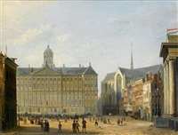 king william iii of the netherlands saluting the crowd from the royal palace, amsterdam by pierre (henri théodore) tetar van elven