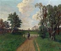 landstraße mit schafherde by jakob koganowsky