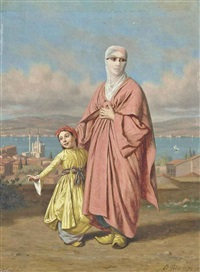 a mother and daughter before the bosphorus by edouard frere