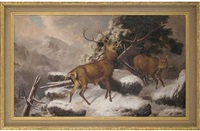 deer in a winter landscape by robert henry roe