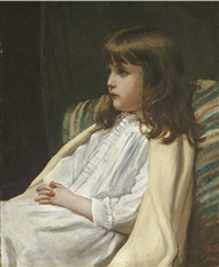 portrait of a girl, seated, in a white dress by blanche f. macarthur