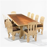 dining table and set of ten chairs by laurence booth