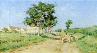 chemin de campagne au berger et son troupeau by henri sené