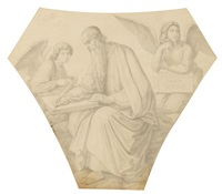 der evangelist matthäus (entwurf für ein pendentif-fresko in der allerheiligen hofkirche münchen) by heinrich maria von hess