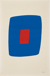 dark blue with red (bleu foncé avec rouge) (from suite of twenty-seven color lithographs) by ellsworth kelly