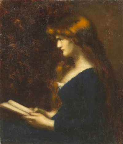 portrait of a young woman reading by jean jacques henner