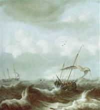 segelschiffe auf stürmischer see by julius porcellis