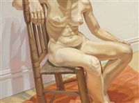 seated female nude on salmon colored rug by philip pearlstein