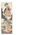 an oban vertical diptych titled seigen daraku no zu (depravity of abbot seigen) (diptych) by yoshitoshi