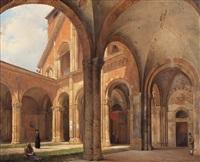 porticato della basilica di sant'ambrogio a milano by giovanni migliara