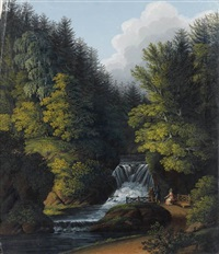 landscape with a waterfall by noel pichot