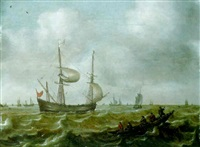 shipping in a stiff breeze, with rowing boats in foreground by justus verwer