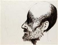 head of a man in profile by leonard baskin
