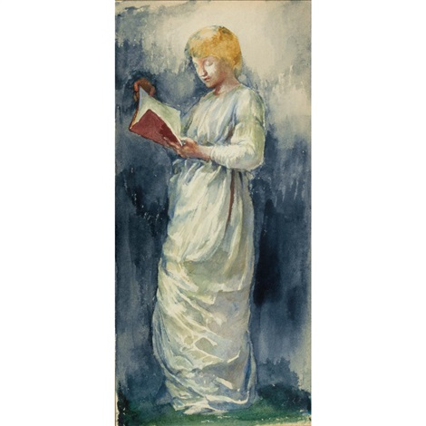 woman in white reading by john la farge
