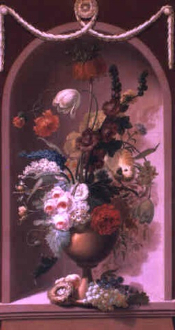 still life with roses and other flowers in a vase in a niche by adèle riché