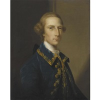 portrait of a gentleman, wearing a blue frock coat by john astley