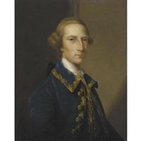 portrait of a gentleman, wearing a blue frock coat by john astley