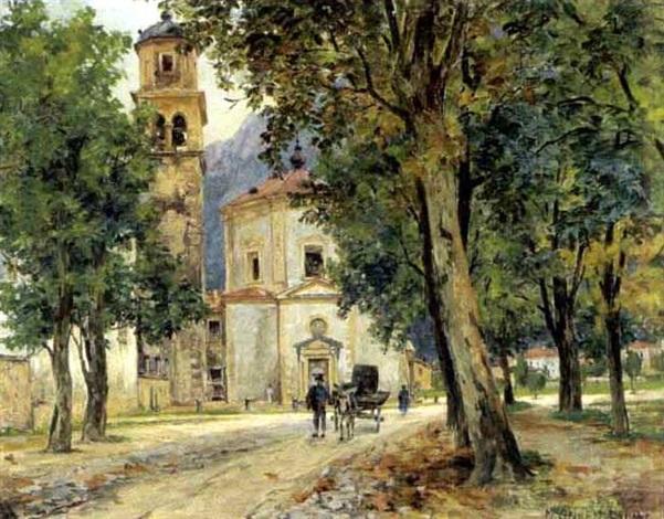 kirche in südlicher landschaft by maria onken palme