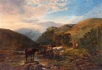 kor i landskap med berg i fjärran by george vicat cole