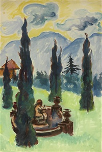 ravello parkansicht mit brunnen (view of ravello park with fountain) by max pechstein