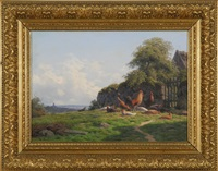 country landscape with roosters by carl frederik bartsch