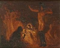 la danseuse nue devant le feu de bois by alfred théodore joseph bastien