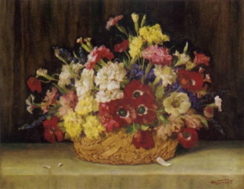 poppies pansies carnations and other mixed flowers in a basket on a ledge by j voisard