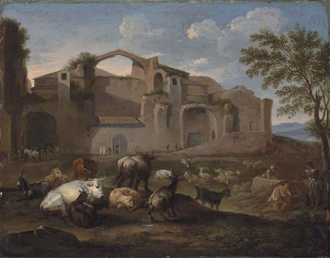 the baths of diocletian rome with drovers and their cattle in the foreground by pieter van bloemen