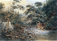 fishing camp by the rapids (+ fishing on a quiet backwater, 2 works) by joseph julius humme