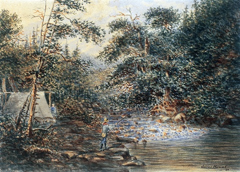 fishing camp by the rapids fishing on a quiet backwater 2 works by joseph julius humme