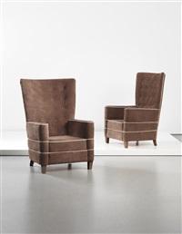 highback armchairs (pair) by guglielmo ulrich