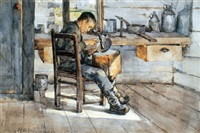young man in a metal smith's shop by william brymner