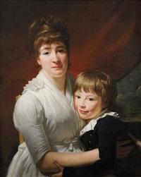 portrait d'une mère en robe blanche et de son jeune fils by henri-pierre danloux