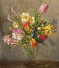 a flower still life with tulips and daffodils by solomon garf