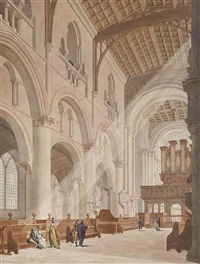 elegant figures in christ church cathedral, oxford by thomas malton the younger